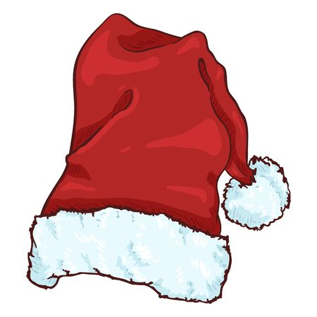 Vector Cartoon Red Santa Claus Hat. Christmas Decoration.