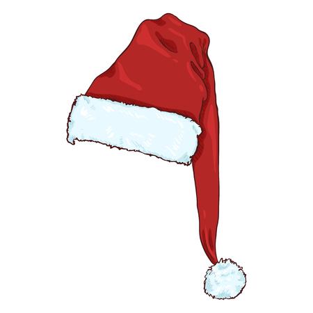 Vector Cartoon Red Santa Claus Hat. Christmas Decoration. 일러스트