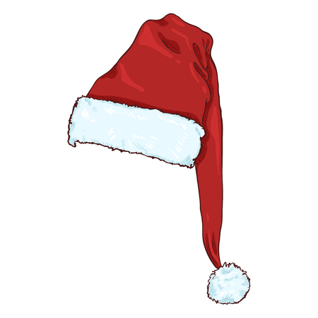 Vector Cartoon Red Santa Claus Hat. Christmas Decoration. Illustration