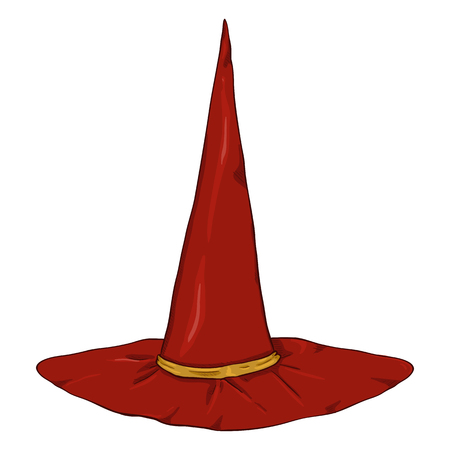Vector Cartoon Single Red Wizards Hat on White Background. Illustration