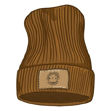 Vector Cartoon Brown Casual Knitted Cap with Brown Leather Label.