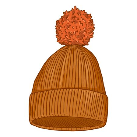 Vector Cartoon Orange Knitted Hat with Pompom