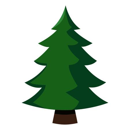 Vector Single Color Icon - Green Pine Tree Illustration
