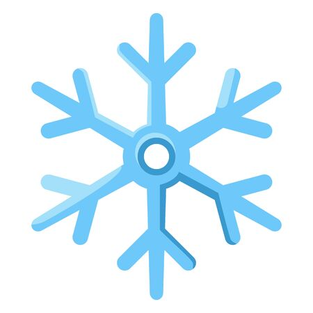 Vector Single Blue Icon - Abstract Decoration Snowflake Symbol