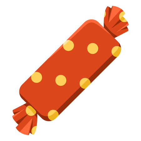 Vector Single Color Icon - Rectangular Candy in Red Wrapper