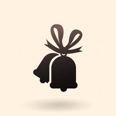 Vector basic black silhouette icon. Christmas bells Illustration