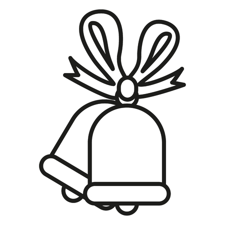 Vector outline isolated icon. Two christmas bells Illustration