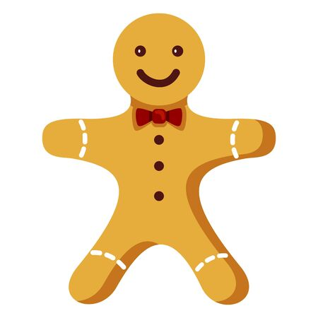 Vector Color Flat Icon - Gingerbread Man. Christmas Cookie