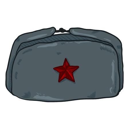 Vector Cartoon USSR Cappello militare invernale con stella rossa Badge. Archivio Fotografico - 89264819