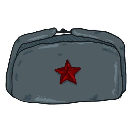 Vector Cartoon USSR Winter Military Hat with Red Star Badge.