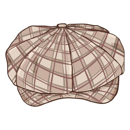 Vector Cartoon Checkered Retro Tweed Cap. Old Fashioned Style Head wear.