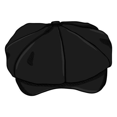 Vector Single Retro Black Cap. Old Fashioned Style Head wear. Illustration