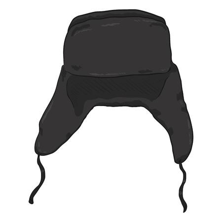 warm cloth: Vector Single Cartoon Black Ear Flapped Hat. Russian Style Headwear.