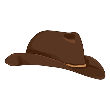 Vector Single Cartoon Brown Cowboy Hat on White Bcakground