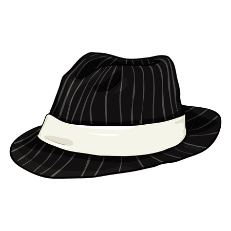 Vector Cartoon Black Fedora Hat with Gray Stripes and White Ribbon