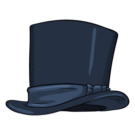 Vector Single Cartoon Dark Blue Classic Cylinder Hat