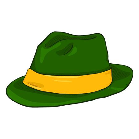 Vector Single Cartoon Irish Color Fedora Hat. Green Headwear with Yellow Ribbon