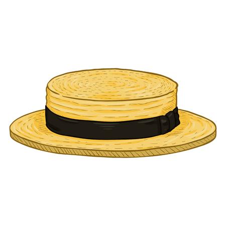 Vector Cartoon Yellow Kanotie Straw Hat with Balck Ribbon Illustration