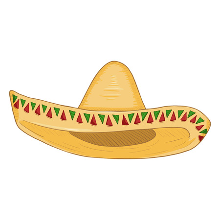 Vector Cartoon Traditional Mexican Hat. Classic Yellow Straw Sombrero.