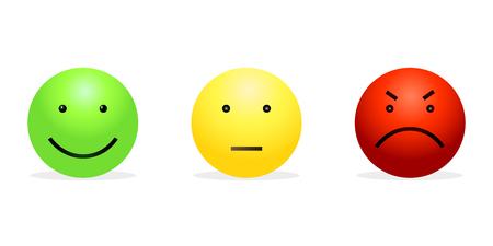 3 スマイリー - 緑の幸せ、黄色の穏やかさと猛烈な赤のベクトルを設定します。感情の街路灯。  イラスト・ベクター素材