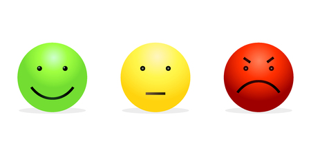 Vektor-Satz von 3 Smileys - Grünes glückliches, gelbes ruhiges und rotes wütendes. Straßenlicht der Gefühle.
