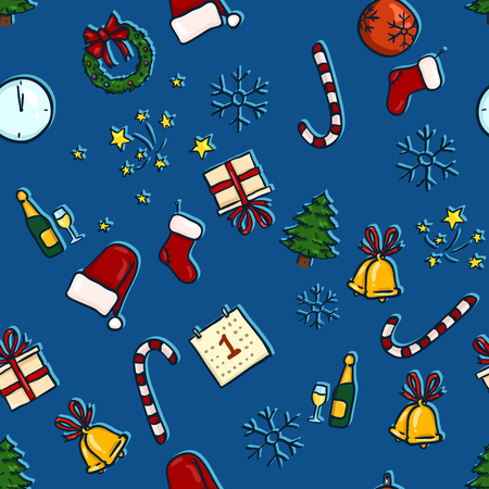 Vector Seamless Pattern of Color Christmas Symbols on Blue Background