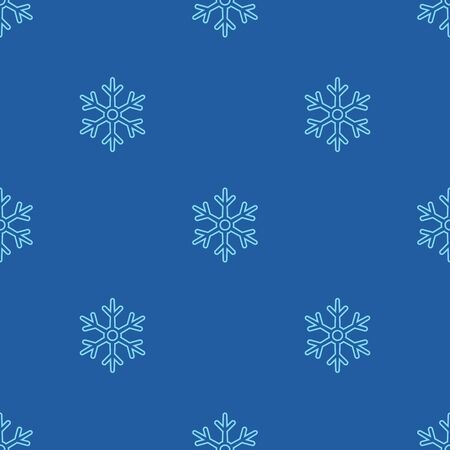 Vector Seamless Snowflakes Pattern on Blue Background