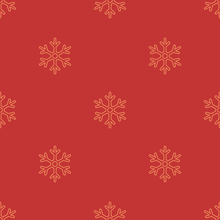 Vector Seamless Yellow Snowflakes Pattern on Red Background