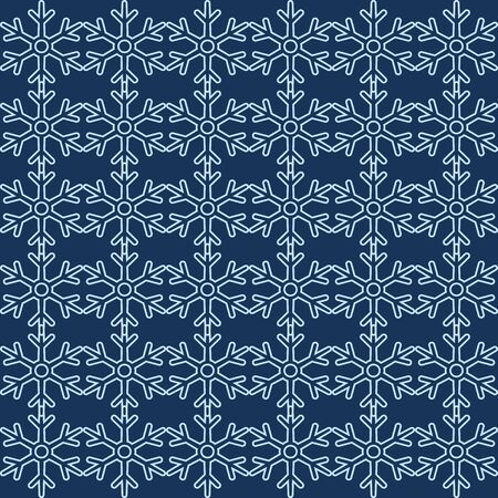 Vector Seamless White Snowflakes Pattern on Blue Background Illustration