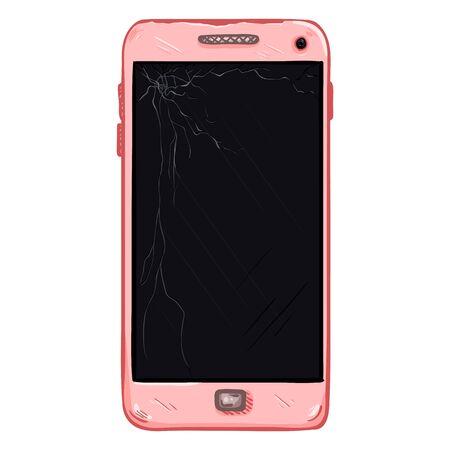 Vector Cartoon Scratched Pink Smartphone with Broken Display Illustration