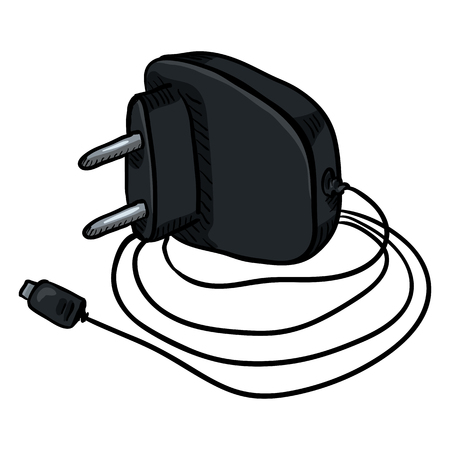 Vector Cartoon Black Charger for Mobile Phones with Wire