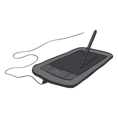Vector cartoon graphic tablet with stilus pen on white background
