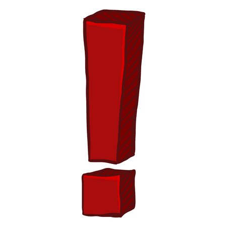 Vector Cartoon Doodle Red Exclamation Mark