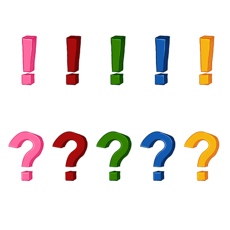 Vector Set of Color Variations of Cartoon Exclamation and Question Marks