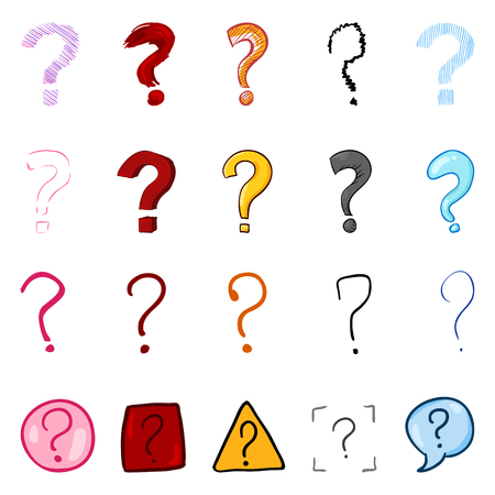Vector Set of Cartoon Color Question Marks
