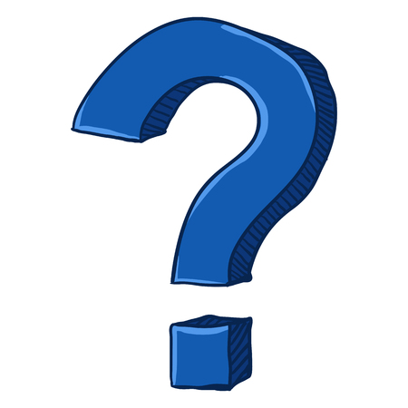 Vector Cartoon Blue Doodle Question Mark on Isolated White Background