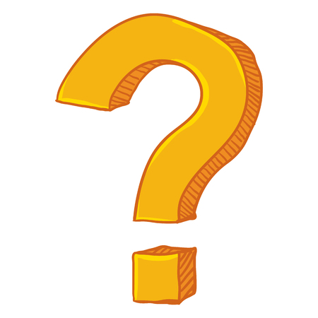 Vector Cartoon Yellow Doodle Question Mark on Isolated White Background