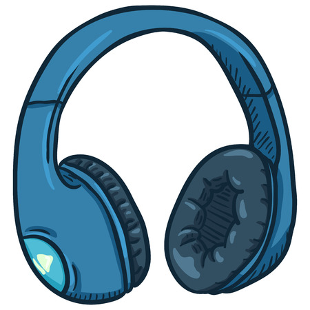 Vector Cartoon Blue Circumaural Headphones on White Background