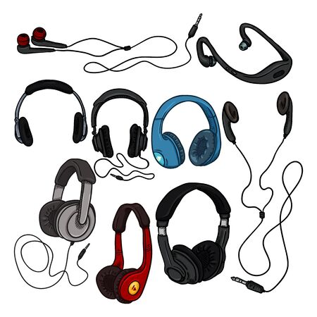 Vector Set of Cartoon Color Headphones on White Background