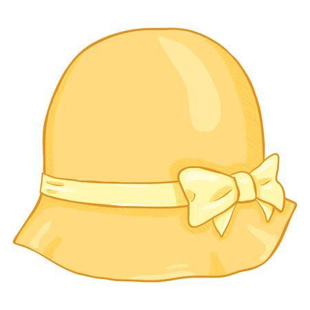 Vector Cartoon Yellow Elegance Women Hat on White Background