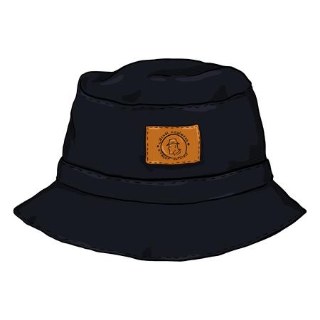 bb0b2395338  91671103 - Vector Single Black Cartoon Bucket Hat. Front View. Urban  Fashion.