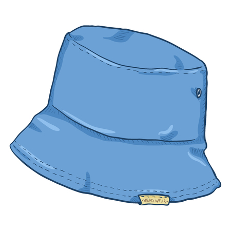 09f89e66540 Vector Single Blue Denim Cartoon Bucket Hat. Urban Street Style.