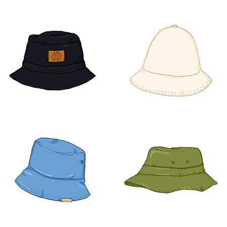 Vector Set Cartoon kleur emmer hoeden. Hip-hop stijl hoofddeksels. Vector Illustratie