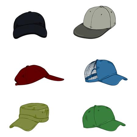 Vector Set of Cartoon Color Baseball Caps. Side and Front Views. Иллюстрация