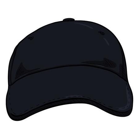 Vector Cartoon Black Classic Blank Baseball Cap. Front View.