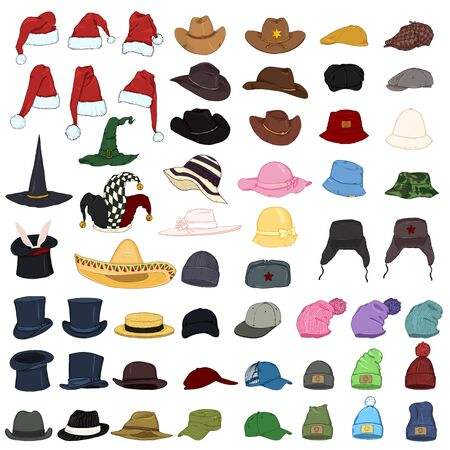 Vector Big Set of Cartoon Color Hats and Caps. 57 Headwear Items. Ilustração