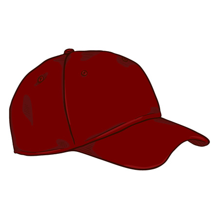 Vector Cartoon Classic Red Blank Baseball Cap. Side View.