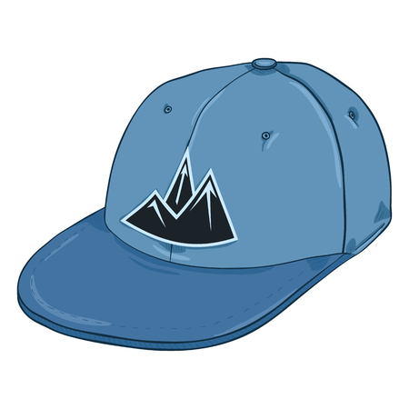 Vector Cartoon Blue Cap with Mountain Logo