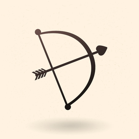 Vector Black Silhouette Cupid Bow with Love Arrow Icon