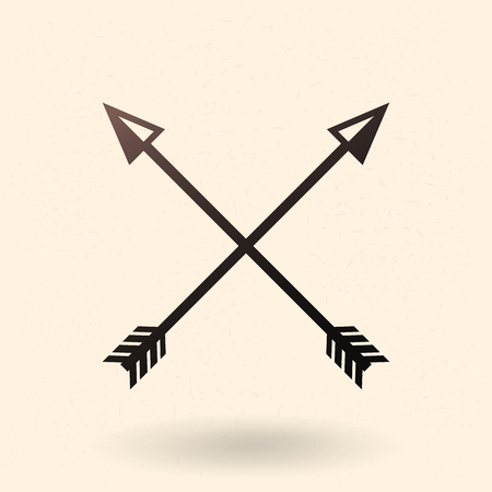 Vector Black Silhouette Medieval Icon of Crossed Arrows